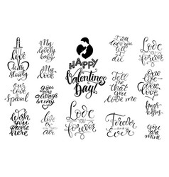 set of letterings valentines theme vector image vector image