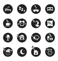 Set of round icons about sweet dreams and bed time vector