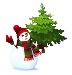 Snowman with pine tree drawing vector image vector image