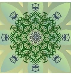 Stylized mandala star on green banner vector image