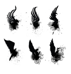 Wings grunge Set vector image vector image