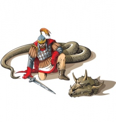 Warrior and a giant snake vector