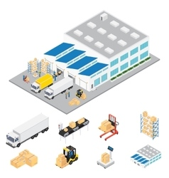 Warehouse industrial area isometric vector