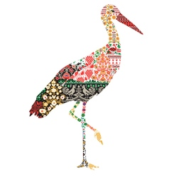silhouette of a crane with Ukrainian patterns vector image