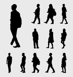 Black walk silhouettes vector