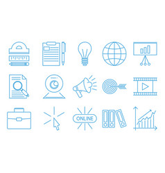 Flat outline icons online education staff training vector
