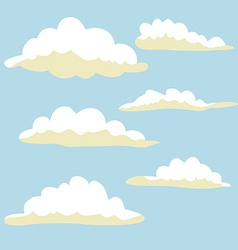 Cartoon clouds on blue background vector