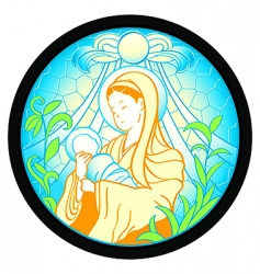 Virgin mary with jesus vector