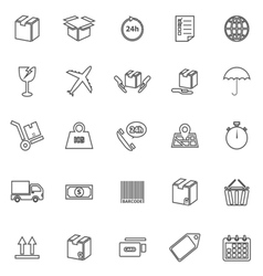 Shipping line icons on white background vector