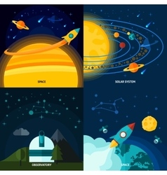 Space and universe flat set vector