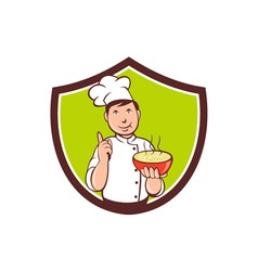 Chef cook bowl pointing crest cartoon vector