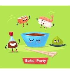 Sushi party soy sauce and sushi roll japanese vector