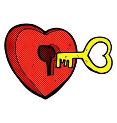 Comic cartoon heart with key vector