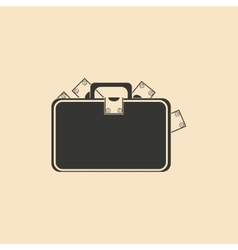 Flat in black and white suitcase full of money vector
