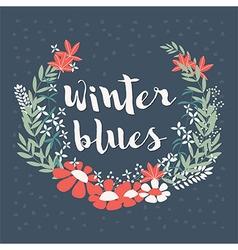 Winter floral arrangement and flowers wreath vector