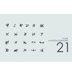 Set of aviation desasters icons vector