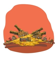 Treasure of gold coins and pirate cannon vector