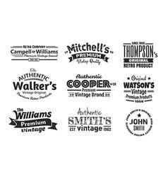 9 vintage insignias vector