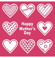 Happy motherss day card with hearts vector
