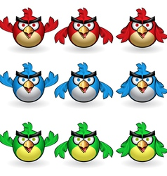 Angry owls set vector