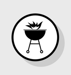 Barbecue with fire sign flat black icon vector