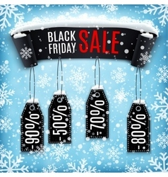 Black friday sale background with black ribbon vector