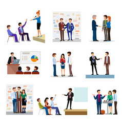 business people groups presentation to investors vector image