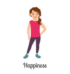 cartoon little happiness girl vector image