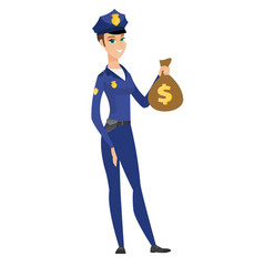 Caucasian police woman holding a money bag vector
