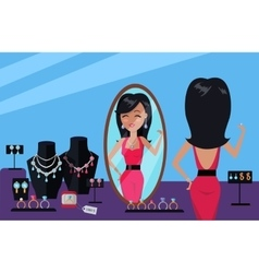 Client of Jewelry Store in Flat Design vector image
