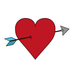 Color image red heart pierced by arrow vector