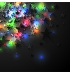 Colorful glowing luminous stars on dark background vector image vector image