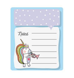 Cute card unicorn with mane long play instrument vector