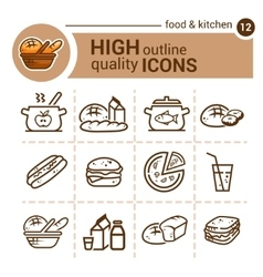 Food and kitchen set vector