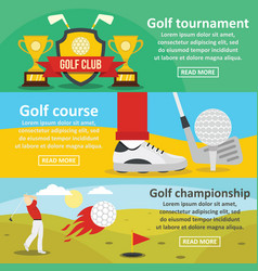 Golf tournament banner horizontal set flat style vector