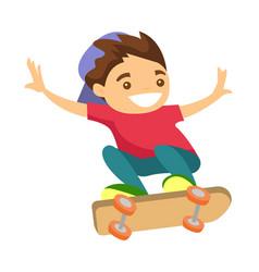 happy caucasian white boy riding a skateboard vector image