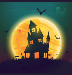 Haunted hause of halloween in front of moon vector