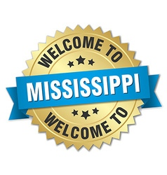 Mississippi 3d gold badge with blue ribbon vector