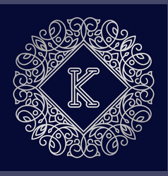 Monogram k bage logo text vector