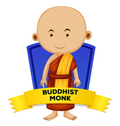 People wordcard with buddhist monk vector image
