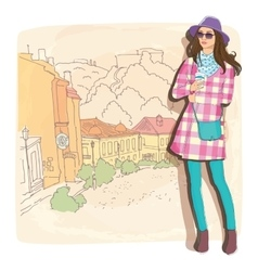 Pretty fashion girl in sketch style on a street vector image vector image