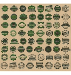 Racing badges - vintage style big green set vector