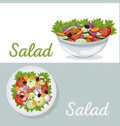 Salad vegetables nutrition dinner poster vector