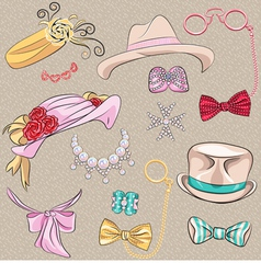 set hipster millinery scarves bows jewelry glasses vector image