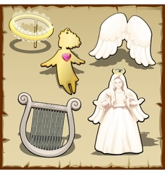 Set of angelic halo harp wings and other vector image