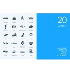 Set of blue hamster library luxury icons vector