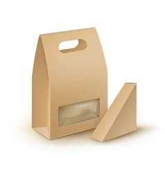 Set of cardboard take away lunch box for sandwich vector