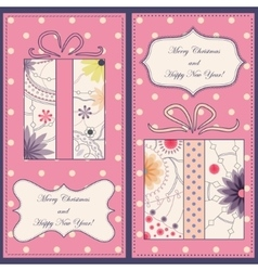 Set of christmas and new year cards with gifts vector image vector image