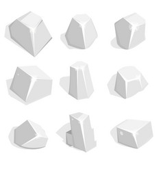 Set of silver ore or boulders isometric 2d game vector