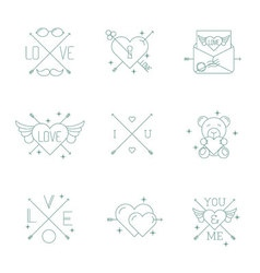 Valentine day design hipster style icon set vector image